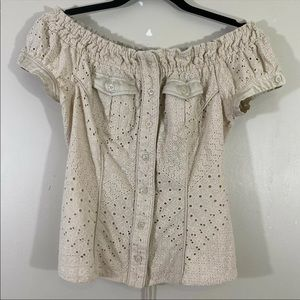 Marciano Women Beige Top Off Shoulder Lace at Back